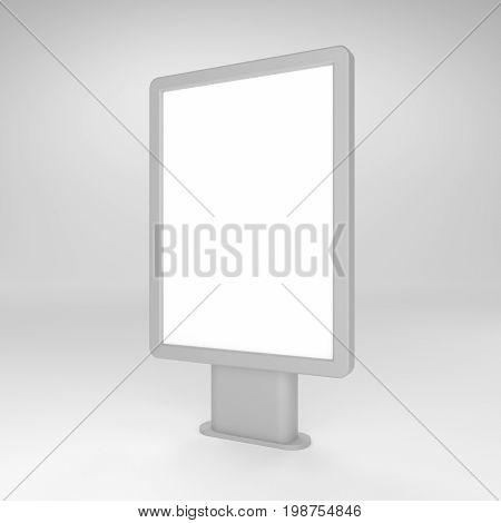 Black blank 3D illustration light box or citylight mockup for design presentation.