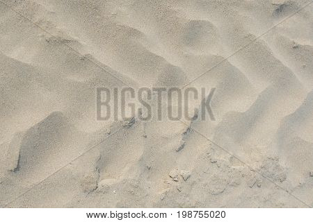 A frontal close up of tractor tire tracks on beach sand. Shot from directly above.