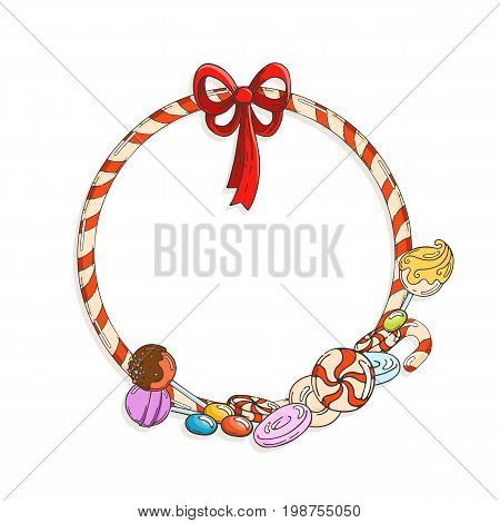Frame of candy cane with candies and lollypops. Vector illustration