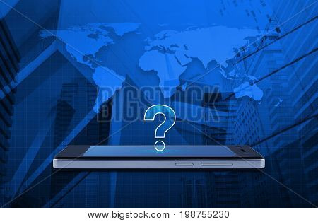 Question mark icon on modern smart phone screen over world map and office city tower Customer support concept Elements of this image furnished by NASA