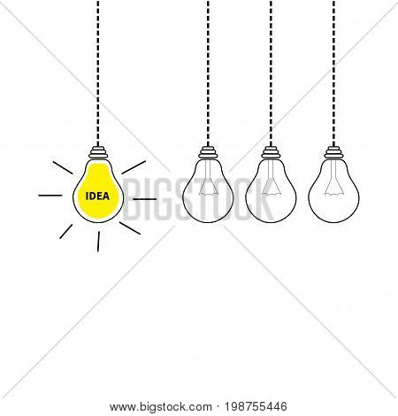 Hanging light bulb icon set. Perpetual motion. Switch on off lamp. Idea text. Shining effect. Dash line. Yellow color. Business success concept. Infographic. Flat design. White background. Vector