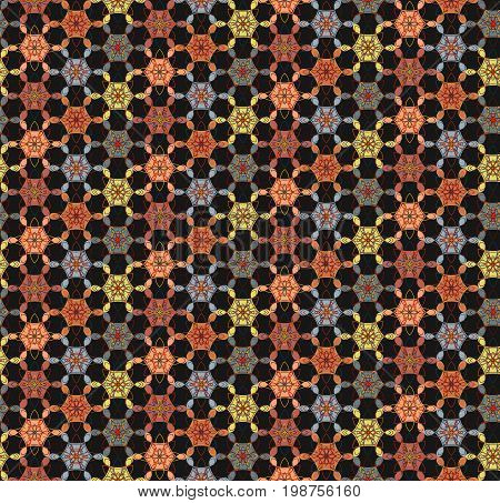 Abstract geometric floral seamless pattern on black background, east stile. Nice bright contrast ethnic texture for textile, wallpapers, tiles, cloth, gift wrapping paper, web design, cover