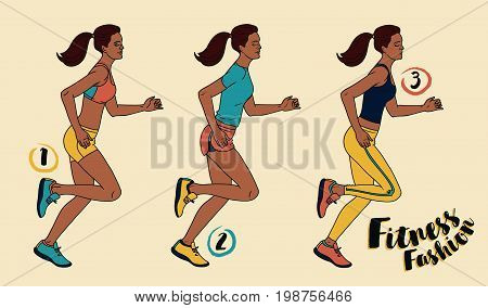 three looks for jogging fashion, slim and young african american running women, vector illustration