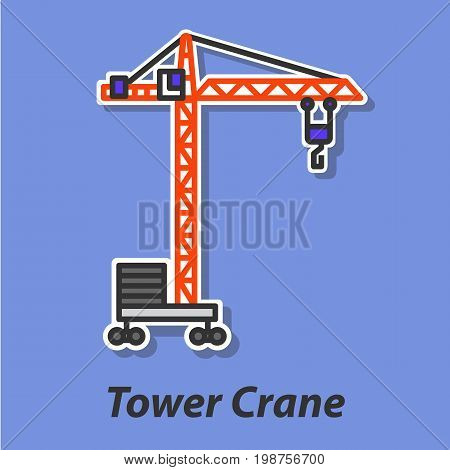 Tower crane color flat icon. This is the vector icon for websites and electronic applications. This icon have a size of 48 by 48 pixels. Also you can edit the size of the icon in the graphical editor.