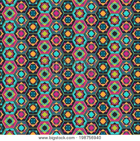 Geometric marrakesh seamless pattern with contrast colors polygons and squares, east style. Nice bright ethnic texture for textile, wallpaper, tiles, cloth, gift wrapping paper, cover, web design
