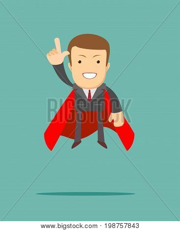 Successful Businessman. Young man in superhero costume representing power and courage. Stock vector illustration for poster, greeting card, website, ad, business presentation, advertisement design.
