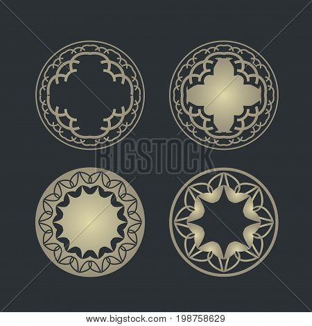 Set vector design element. Templates icon, symbol, emblem, monogram, frame. Linear trend style. Illustration gold pattern on black background. Concept of unusual abstract luxury logo.eps8,eps10