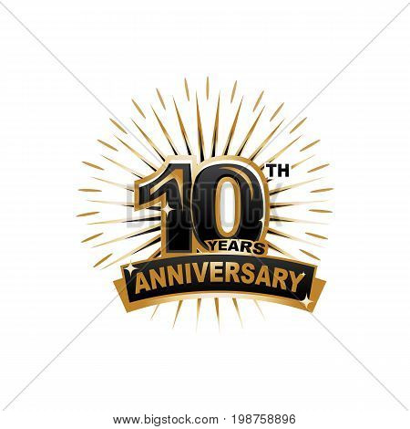 ten years anniversary, gold badge, illustration design, isolated on white background.