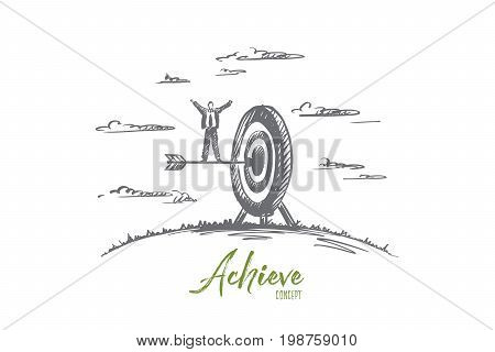 Achieve concept. Hand drawn arrow hitting in the target center of dartboard. Concept of achieving a goal, success businessman isolated vector illustration.