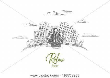 Relax concept. Hand drawn man sitting and relaxing, modern buildings on background. Businessman has a rest isolated vector illustration.