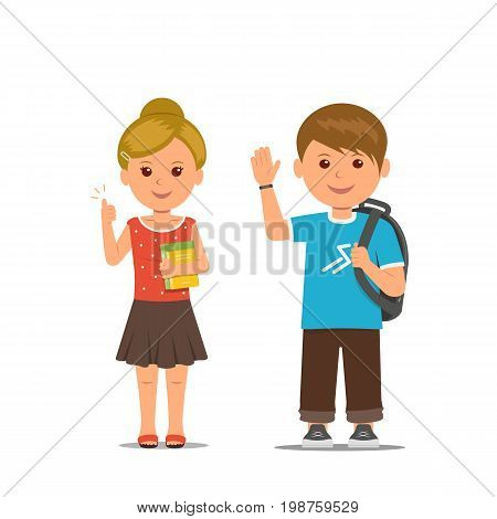 Pupils. Schoolboy with backpack friendly waving hand. Schoolgirl with books hold thumbs up. Isolated children cartoon characters. Vector illustration in flat style.
