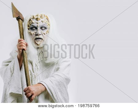 Demon With Axe In Hands On White Background.