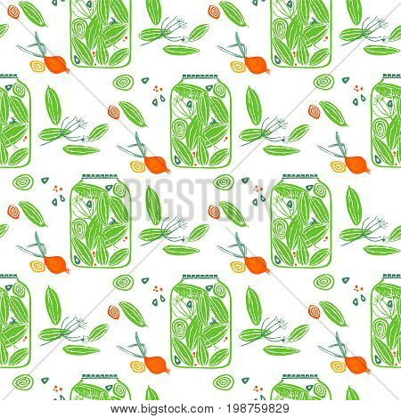 Pickled cucumbers. Seamless pattern with cucumbers, onions, garlic and dill.