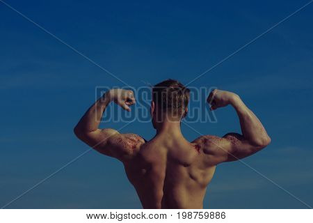 Man With Muscular Wet Body.