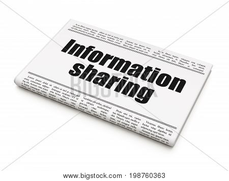 Data concept: newspaper headline Information Sharing on White background, 3D rendering