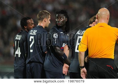 BUDAPEST - SEPTEMBER 29: Lyon players line up at the UEFA Champions League football game Debrecen vs Lyon, UEFA Champions League football game, September 29, 2009 in Budapest, Hungary.
