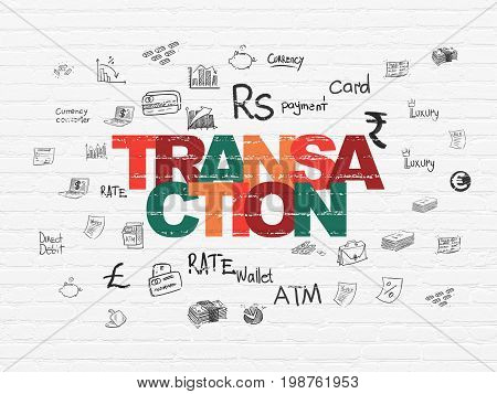 Banking concept: Painted multicolor text Transaction on White Brick wall background with  Hand Drawn Finance Icons
