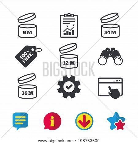 After opening use icons. Expiration date 9-36 months of product signs symbols. Shelf life of grocery item. Browser window, Report and Service signs. Binoculars, Information and Download icons. Vector