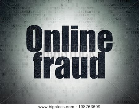 Protection concept: Painted black word Online Fraud on Digital Data Paper background