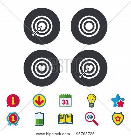 Target aim icons. Darts board with heart and arrow signs symbols. Calendar, Information and Download signs. Stars, Award and Book icons. Light bulb, Shield and Search. Vector