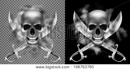 Realistic human skull in the smoke with a pirate saber. Isolated object, can be used with any image or text.