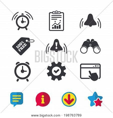 Alarm clock icons. Wake up bell signs symbols. Exclamation mark. Browser window, Report and Service signs. Binoculars, Information and Download icons. Stars and Chat. Vector