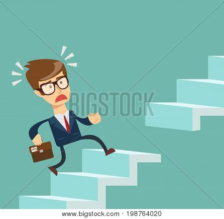man running up the stairs. Stock vector illustration for poster, greeting card, website, ad, business presentation, advertisement design.