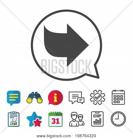 Arrow sign icon. Next button. Navigation symbol. Information, Report and Calendar signs. Group, Service and Chat line icons. Vector
