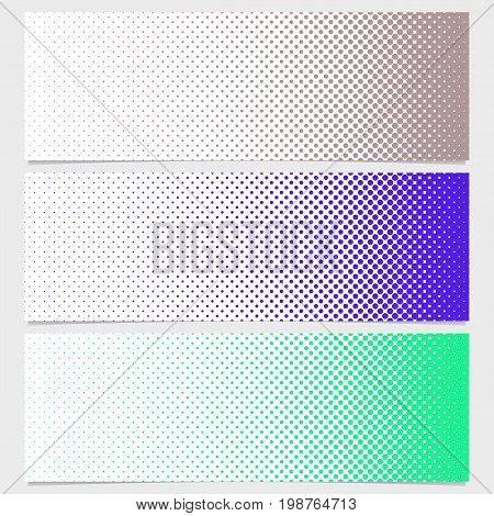 Halftone dot pattern banner template set - vector graphic design from circles in varying sizes