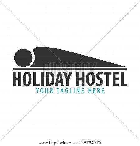 Hostel Logo. Hotel Logo. Travel Rest Place. Vector Illustration.