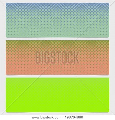 Halftone square pattern horizontal banner set - vector illustration from diagonal squares in varying sizes
