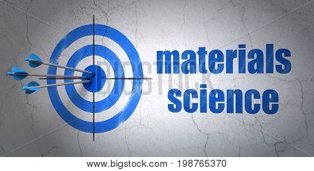 Success Science concept: arrows hitting the center of target, Blue Materials Science on wall background, 3D rendering