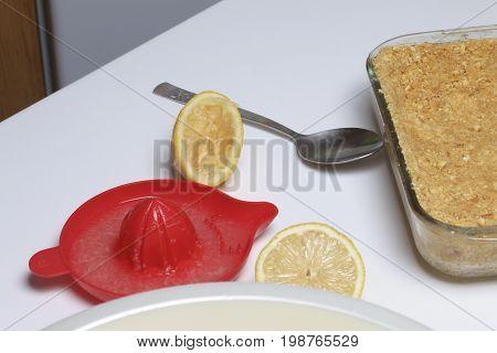 Two Halves Of Lemon For Juice. Manual Juicer. On A White Background.