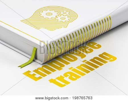 Learning concept: closed book with Gold Head With Gears icon and text Employee Training on floor, white background, 3D rendering