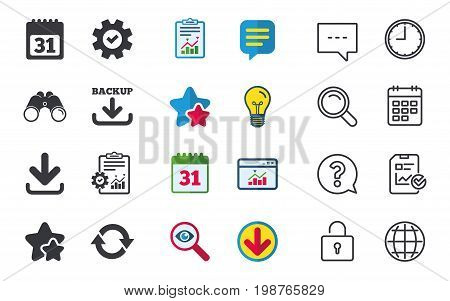 Download and Backup data icons. Calendar and rotation arrows sign symbols. Chat, Report and Calendar signs. Stars, Statistics and Download icons. Question, Clock and Globe. Vector