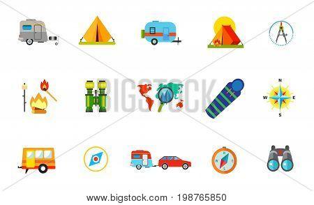 Adventure icon set. Caravan Camping Tent Campfire with Marshmallow Vacation Destination on Map Sleeping Bag Compass Rose Caravan Travel Car Compass Travel Binocular