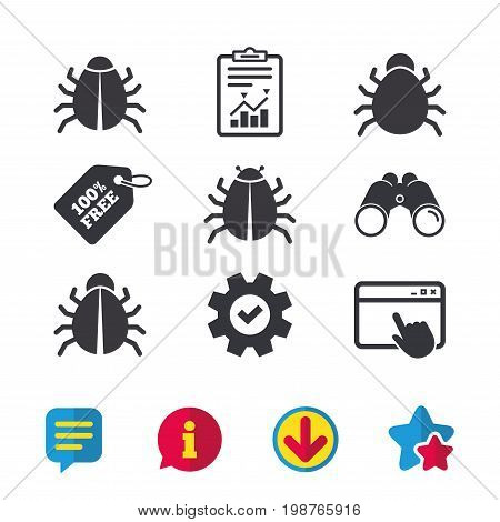 Bugs vaccination icons. Virus software error sign symbols. Browser window, Report and Service signs. Binoculars, Information and Download icons. Stars and Chat. Vector