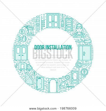 Doors installation signs, repair banner illustration. Vector line icon of various door types, handle, latch, lock, hinges. Circle template with place for text, interior design shop, handyman service.