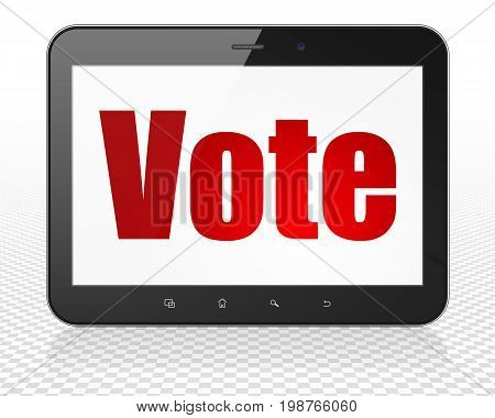 Politics concept: Tablet Pc Computer with red text Vote on display, 3D rendering