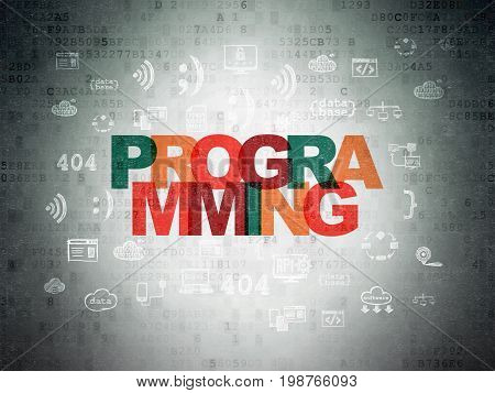 Software concept: Painted multicolor text Programming on Digital Data Paper background with  Hand Drawn Programming Icons