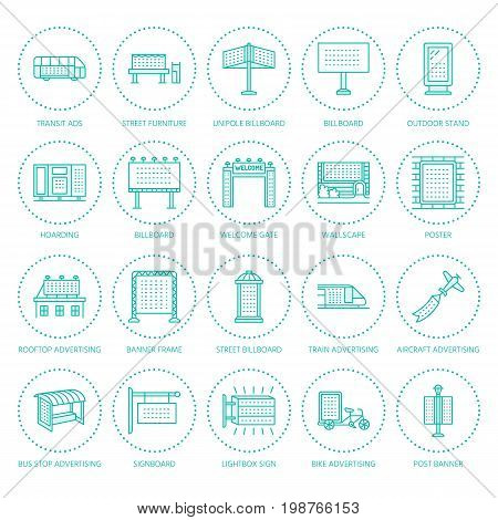 Outdoor advertising, commercial and marketing flat line icons. Billboard, street signboard, transit ads, posters banner and other promotion design element. Trade objects thin linear colored sign.