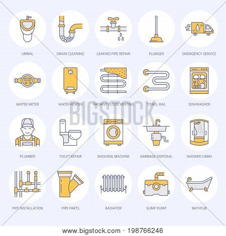 Plumbing service vector flat line icons. House bathroom equipment, faucet, toilet, pipeline, washing machine, dishwasher. Plumber repair illustration, thin colored signs for handyman services.