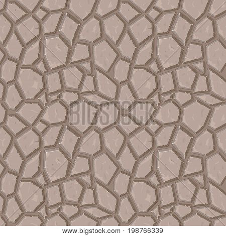 Dry cracked ground texture, vector background, seamless pattern, seamless texture, seamless vector