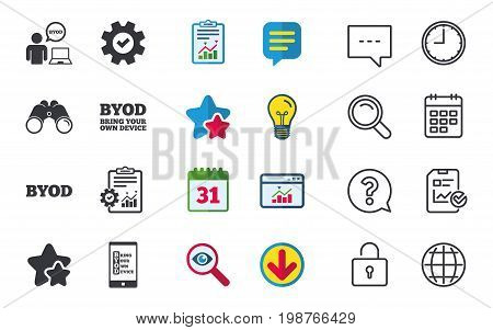 BYOD icons. Human with notebook and smartphone signs. Speech bubble symbol. Chat, Report and Calendar signs. Stars, Statistics and Download icons. Question, Clock and Globe. Vector