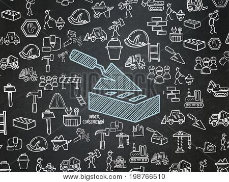 Building construction concept: Chalk Blue Brick Wall icon on School board background with  Hand Drawn Construction Icons, School Board