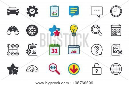 Transport icons. Car tachometer and mechanic transmission symbols. Wheel sign. Chat, Report and Calendar signs. Stars, Statistics and Download icons. Question, Clock and Globe. Vector