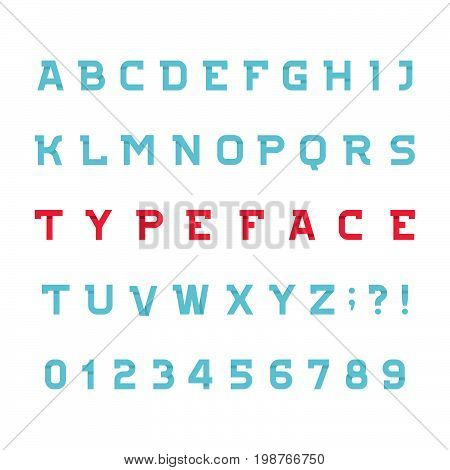 Abstract alphabet font. Effect type letters and numbers on white background. Vector typeface for your design.