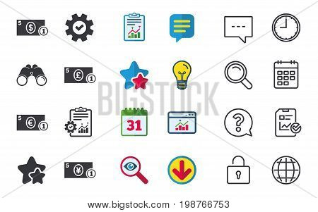 Businessman case icons. Dollar, yen, euro and pound currency sign symbols. Chat, Report and Calendar signs. Stars, Statistics and Download icons. Question, Clock and Globe. Vector