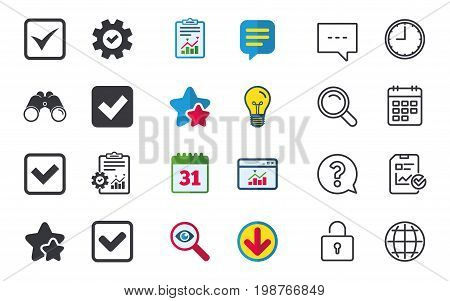Check icons. Checkbox confirm squares sign symbols. Chat, Report and Calendar signs. Stars, Statistics and Download icons. Question, Clock and Globe. Vector