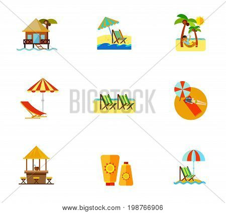 Beach icon set. Hotel on Water Beach Umbrella and Lounge Chair Man in Hammock Deck Chair Woman Sunbathing Beach Bar Sunblock Cream